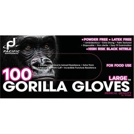 Nitrile gloves, black, high-risk, long cuff - x-large (10 boxes)
